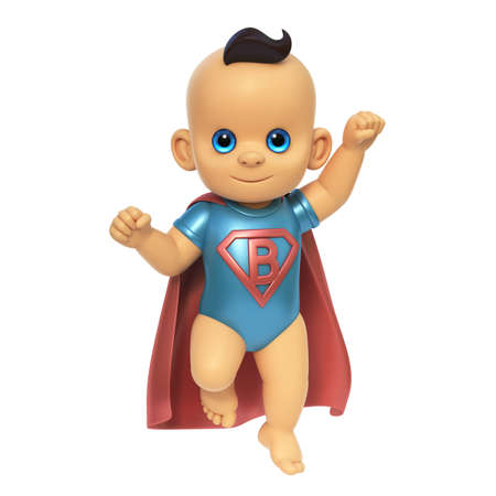 Cute Baby in superbaby costume, Caucasian infant 3d rendering on white background