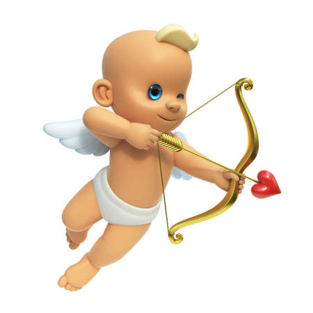 Cupid infront of big red heart, love and Valentine's day symbol. Cupid shooting arrow, isolated on white background 3d rendering