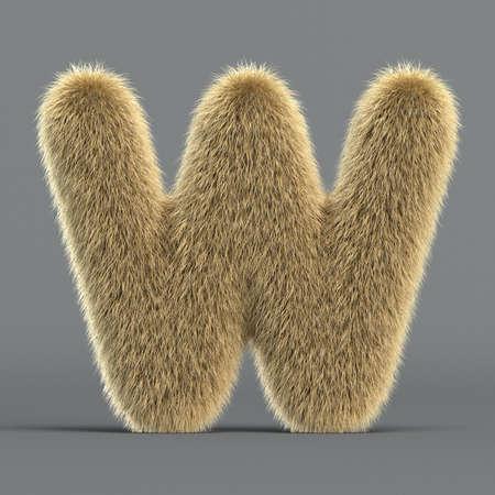 Hairy font, furry alphabet, 3d rendering, letter W