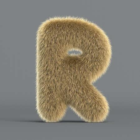 Hairy font, furry alphabet, 3d rendering, letter R