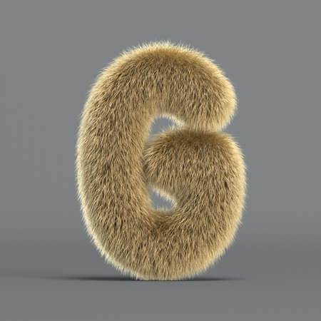 Hairy font, furry alphabet, 3d rendering, letter G