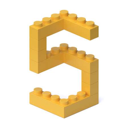 Building blocks font 3d rendering number 5