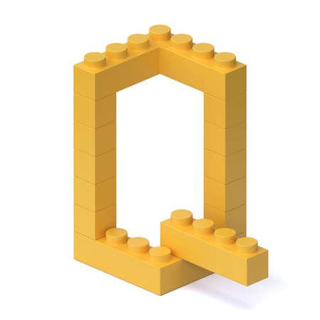 Building blocks font 3d rendering letter Q 版權商用圖片