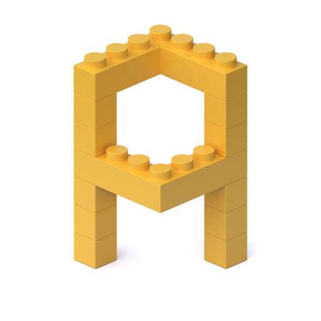 Building blocks font 3d rendering letter A