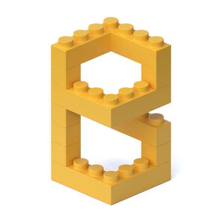 Building blocks font 3d rendering letter B