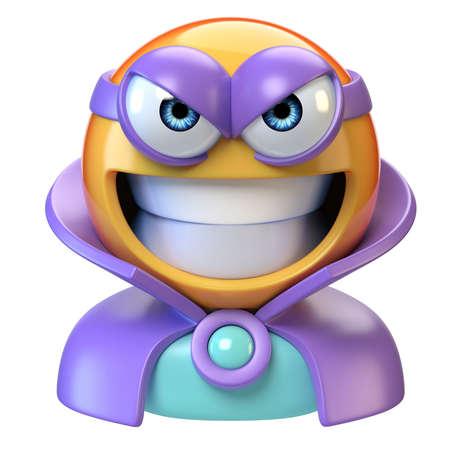 Emoji super villain, emoticon masked as evil character, 3d rendering 版權商用圖片