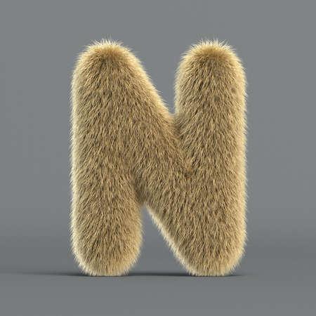 Hairy font, furry alphabet, 3d rendering, letter N