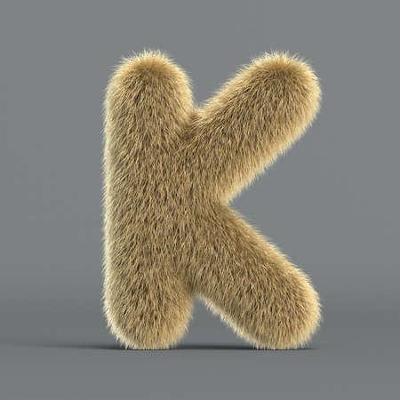 Hairy font, furry alphabet, 3d rendering, letter K 版權商用圖片