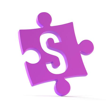 Jigsaw font 3d rendering, puzzle piece letter S
