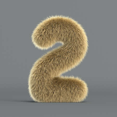 Hairy font, furry alphabet, 3d rendering, number 2