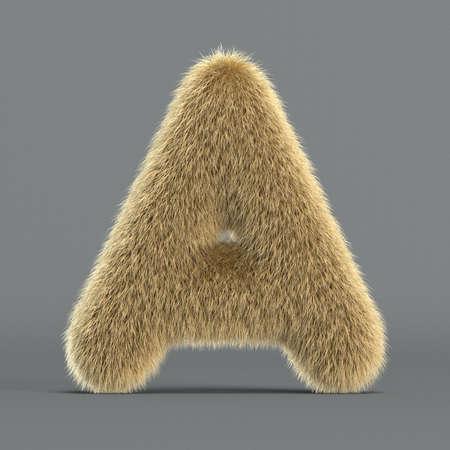 Hairy font, furry alphabet, 3d rendering, letter A 版權商用圖片