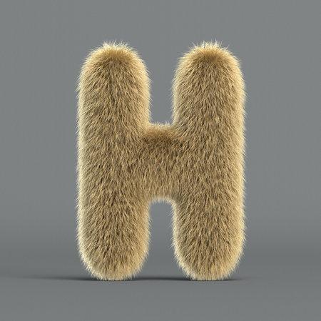 Hairy font, furry alphabet, 3d rendering, letter H