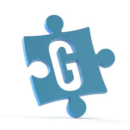 Jigsaw font 3d rendering, puzzle piece letter G