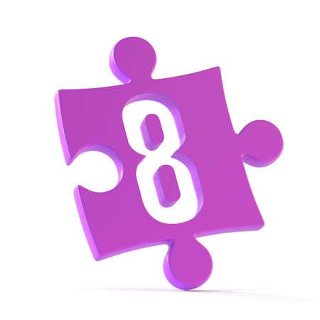 Jigsaw font 3d rendering, puzzle piece number 8 版權商用圖片