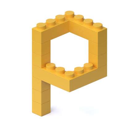 Building blocks font 3d rendering letter P 版權商用圖片