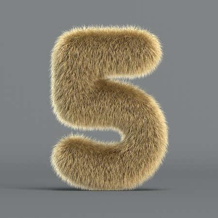 Hairy font, furry alphabet, 3d rendering, number 5 版權商用圖片