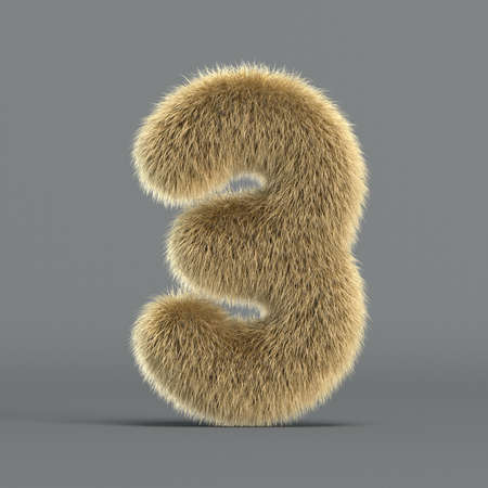 Hairy font, furry alphabet, 3d rendering, number 3