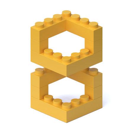 Building blocks font 3d rendering number 8