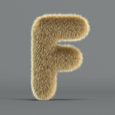 Hairy font, furry alphabet, 3d rendering, letter F 版權商用圖片