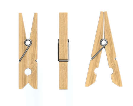 Wooden clothespins form vatious views on white background, pegs 3d rendering Banco de Imagens