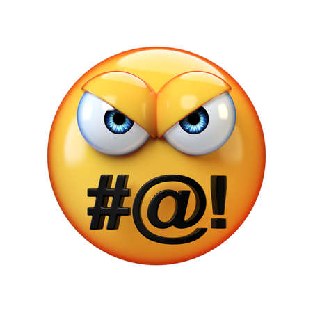 Angry emoticon swearing isolated on white background, bad mouth emoji 3d rendering