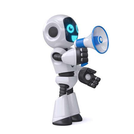 Robot holding the loudspeaker on white background 3d rendering