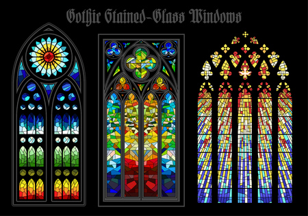 stained glass church: A Vector Gothic Stained Glass Windows on a black background.