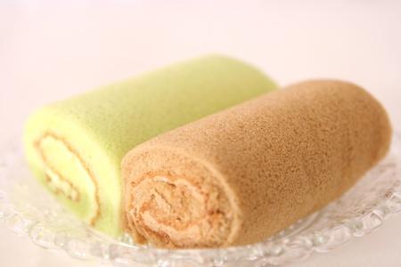 Sweet roll with coffee cream and pandan  photo
