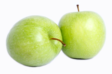 Many apply green two with for you to eat. Stock Photo