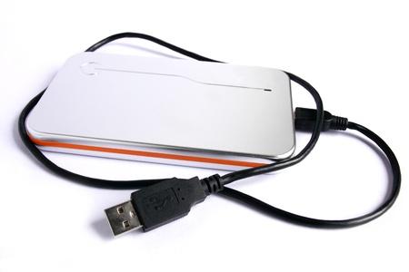 Harddisk external silver and orange color for storage. Stock Photo - 9229899