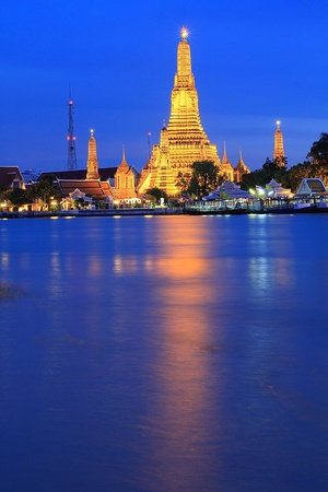 wat arun: travel wat arun or temple of thailand. Stock Photo