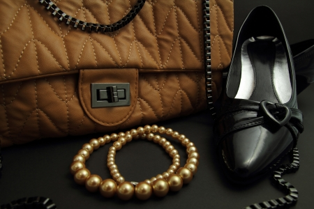 Dress shoes  handbags  necklaces Stock Photo - 14471752
