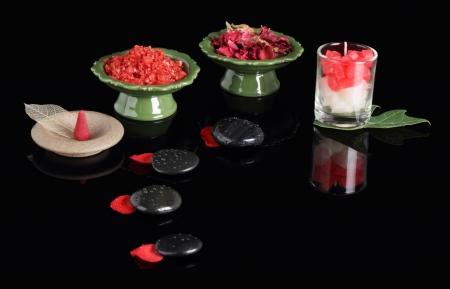 Spa Thai rose set ,stone black and color black background\ .