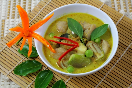 Fish ball green  curry is Thai cuisine. photo