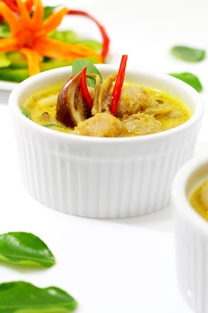cystic: Fish ball green  curry is Thai cuisine