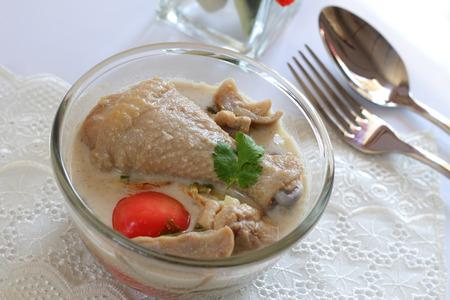 coconut milk: Chicken in coconut milk and galangal  Thai food.