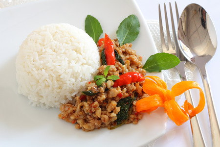 sweet and savoury: Rice topped with stir-fried with minced pork and basil.