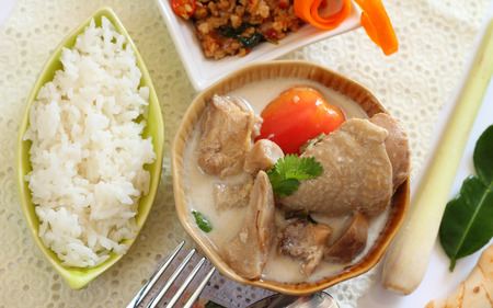 chicken soup: Rice and chicken in coconut milk and galangal  Thai food.