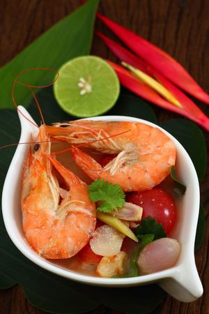 sour grass: Sour prawn soup is Thai food name Tom Yum Kung.
