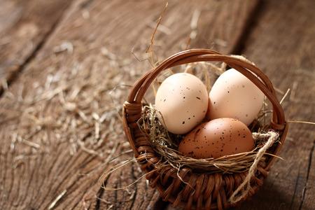 christian festival: Easters day  eaggs  in basket.