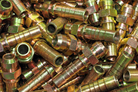 pinchbeck: The hydraulic fitting for connection oil in industry. Stock Photo