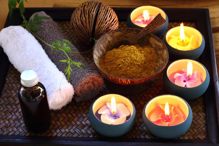 foot spa: Oil  herb and ingredient for Spa and massage.