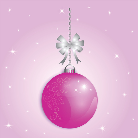 ball chains: Christmas Ball xmas and happy new year pink background for decoration design holiday.
