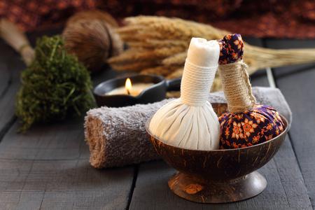 pra: Luk Pra Kob Thai pattern for Spa and massage. Stock Photo