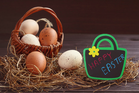 moveable: Easters day  eaggs brown color in basket.