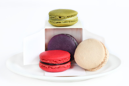 multi color: Macaron is dessert in french,Multi color  on white blackgroun. Stock Photo