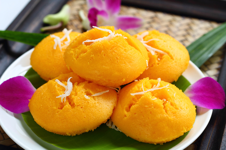 toddy palm: Toddy palm cake is dessert of Thai food.
