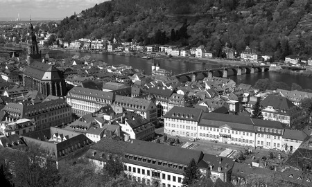 heidelberg: Heidelberg is a city in south-west Germany black and white color. Stock Photo