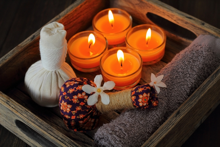 Luk Pra Kob Thai pattern for Spa and massage. Stock Photo