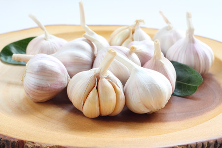 Garlic is spice for ingrediant raw food on wood.